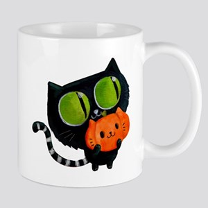 Cute Black Cat with pumpkin Mugs